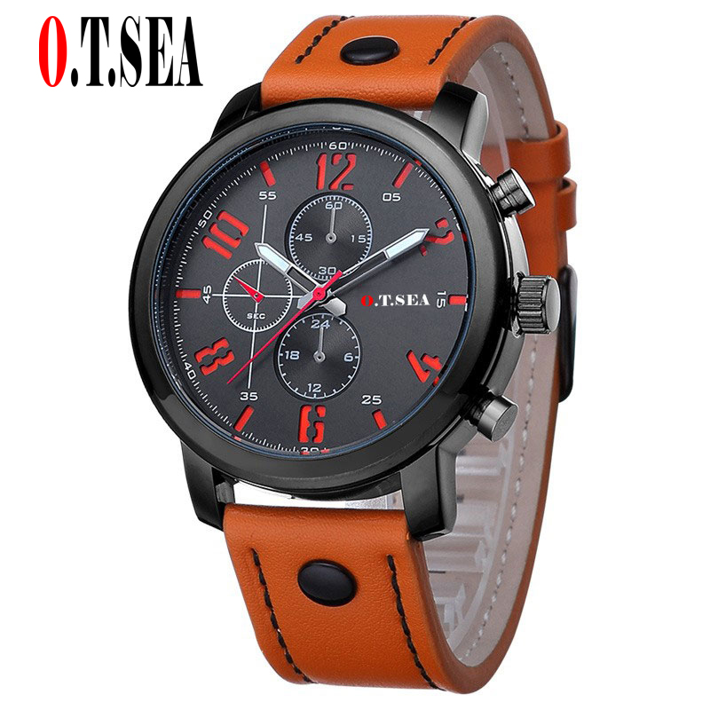 Hot Sales O.T.SEA Brand Soft Leather Watches Men Military Sports Quartz Wristwatches Relogio Masculino 8192