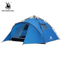 Camping tente grand espace Double couche 3-4 personnes tentes hydraulique automatique étanche 4 saisons en plein air famille plage randonnée tentes