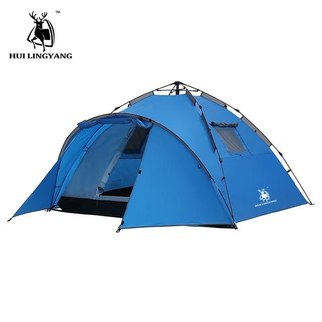 Туристическая палатка большой космос двойной слой 3-4 человека палатки гидравлический автоматический водостойкий 4 сезона Открытый семейный пляж походные палатки