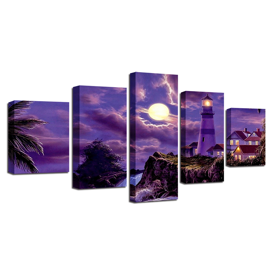 Framed 5 Panel Cartoon poster Wall Art Oil Painting On Canvas Printed Painting Pictures Decor painting large living room in Painting Calligraphy from Home Garden