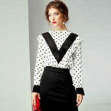цена на Blouse Women Summer 2019 New Round Neck Long Sleeves 100% Natural Silk Polka Dot Ruffles Patchwork Fashion Women Top M-XL