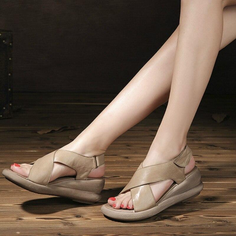 Tywakiho Genuine Leather Women Sandals 6 CM High Heels Summer Shoes Wedge Heels Sandals Coffee Retro Handmade Women Leather Shoe