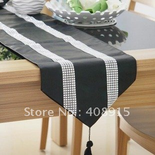 Beau 160x30cm Luxury Black Faux Leather With Two Strip Diamond Table Runner Table  Mat, Home/