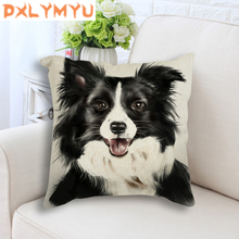 Car Backrest Cute Animal Cushion Decoration Small Dog Printed Throw Pillow Nordic Style Decorative Linen Cotton Sofa