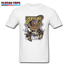 Swag Cowboy Style T-shirt Men White T Shirts Punk Skull Printed Mens Clothes Cotton Vintage Tops & Tees Cow Driver Streetwear
