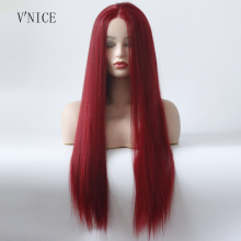 Straight Red Lace Front Wig Middle Part Wig