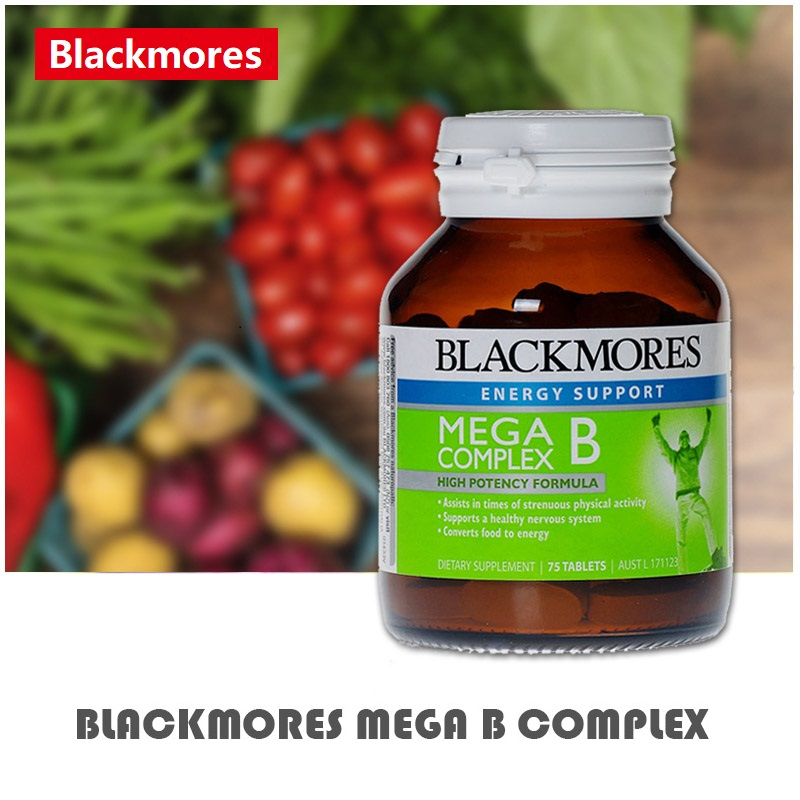 Australia BM Mega B Vitamins 75 Tablets Complex Support Nervous System Energy Function during Strenuous Physical Activity image