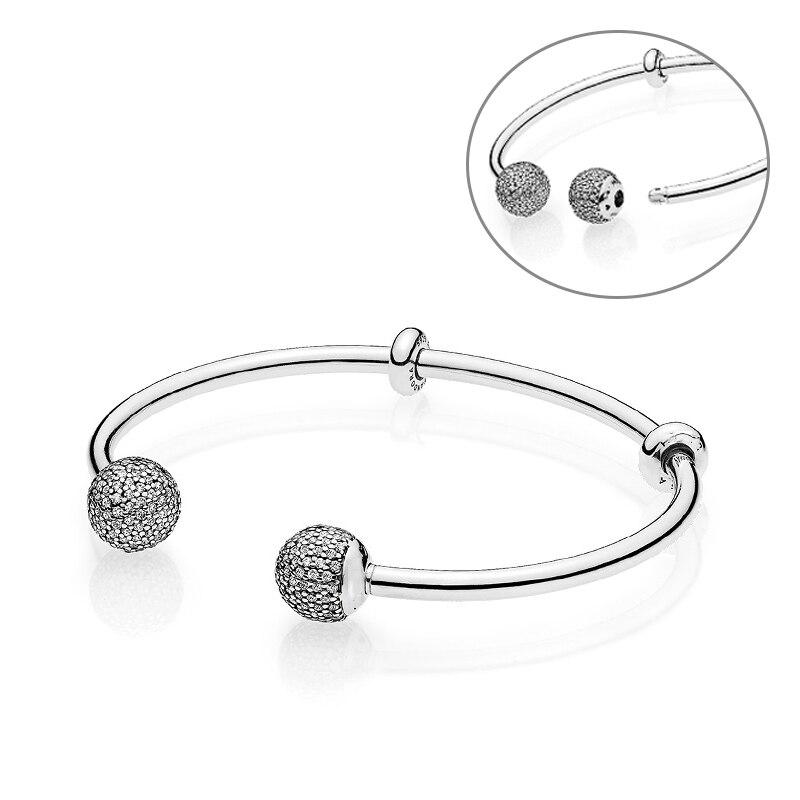 JP Luxury 100% 925 Sterling Silver Bangles Women Fashion Silver Jewerly Fit Original Charm Pandora Bracelet Bangles Fixed Beads