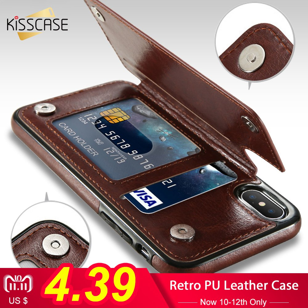 KISSCASE Retro PU Leather Case For iPhone X 6 6s 7 8 Plus XS 5S SE Multi Card Holders Phone Cases For iPhone XS Max XR 10 Cover stylish plaid handbag designed plastic pu leather case w card slot for iphone 5 5s black
