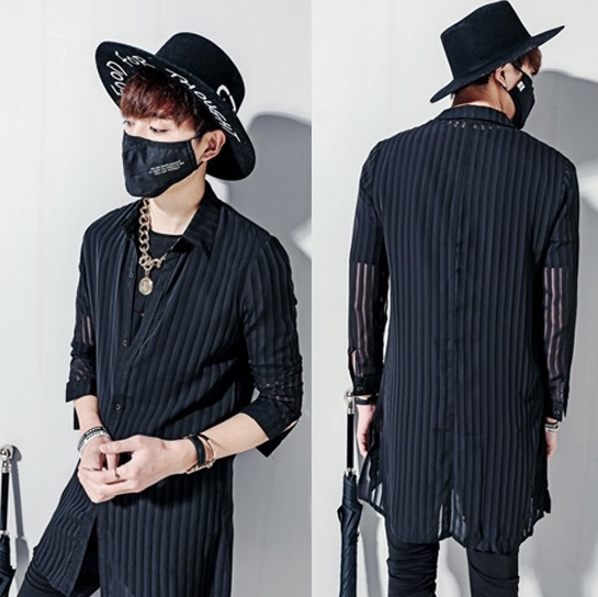 0100d9bd9dcba 2017 Harajuku Luxury Brand Mens Dress See Through Shirts Striped Chiffon  Long Sleeve Designer Black Lace