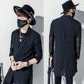2017 Harajuku Marca De Luxo Mens Vestido Ver Através de Camisas Listradas Chiffon Designer de Renda Preta de Manga Longa Slim Fit Camisa Dos Homens