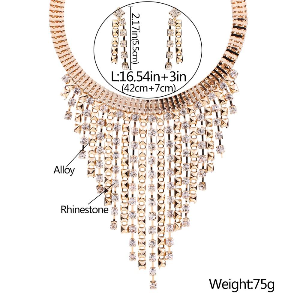 Solememo Luxury Gold Wedding Jewelry Sets Women Fashion Jewelry Sets Austrian Crystal Pendant Necklace Long Earrings N3589 2