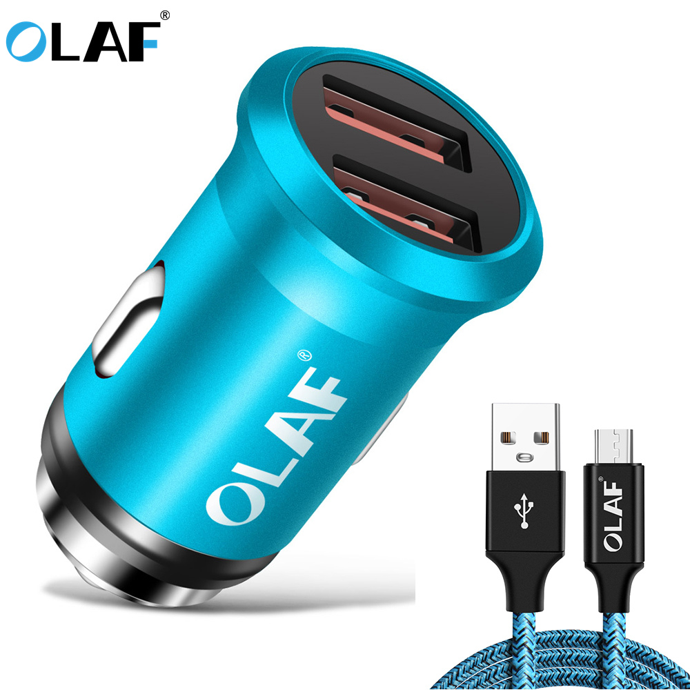Dual USB Car Charger 5V 2.1A Output Mobile Phone Charger Smart Travel Adapter Cigar Lighter usb micro cable For iphone Type C