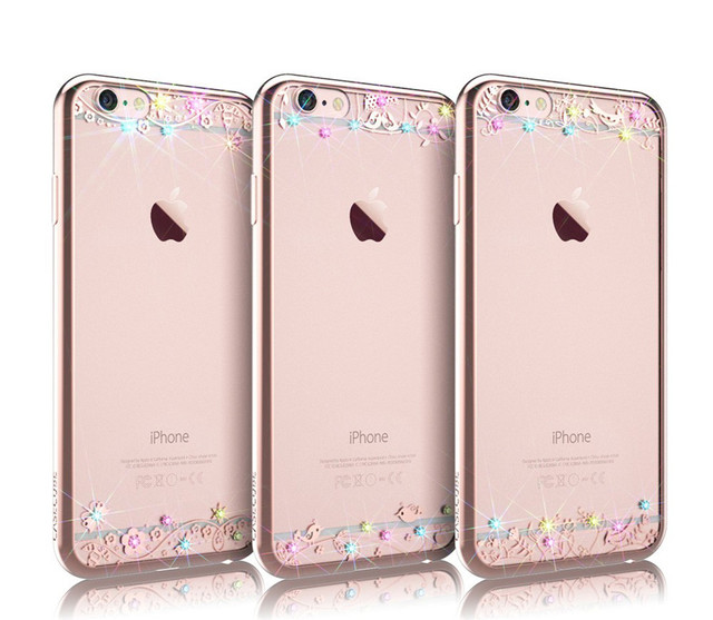 buy popular d410f a3303 US $14.27 |Ultra Thin TPU Transparent Swarovski Crystal Phone Case For  iPhone 6/6s/6 Plus/6s Plus with Free Tempered Glass Film TC004 on ...