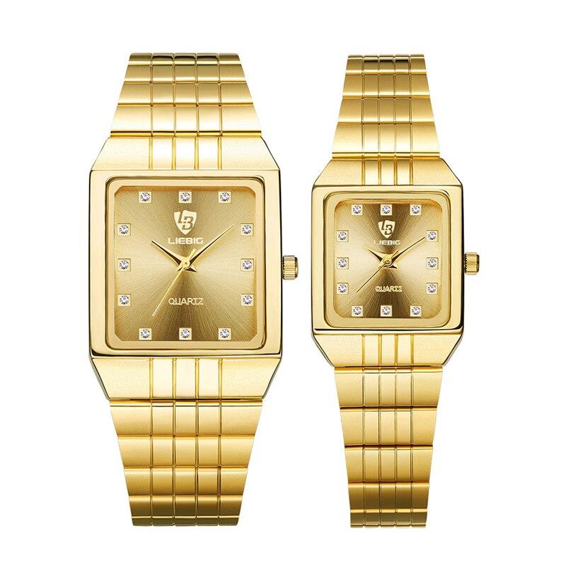 Quartz Watches Men Women Golden Watch Brand Luxury Bracelet Wrist Watches Golden Steel Female Male Clock Relogio Masculino 8808