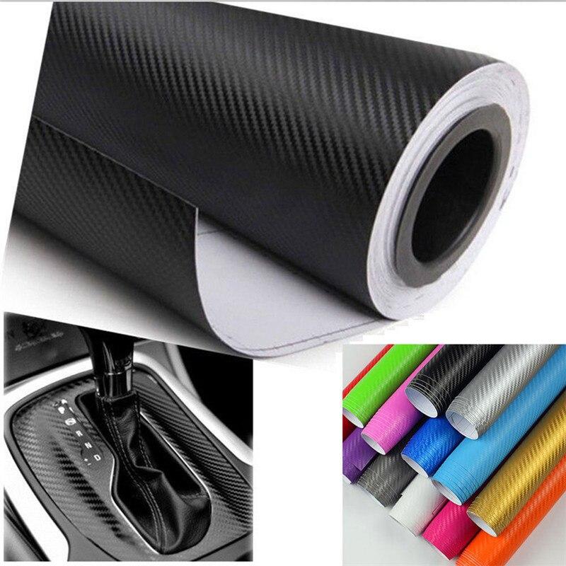 1 unidad 3D fibra de carbono mate película de vinilo lámina para el coche rollo de envoltura pegatina DIY decoración de varios tamaños impermeable para el exterior del coche