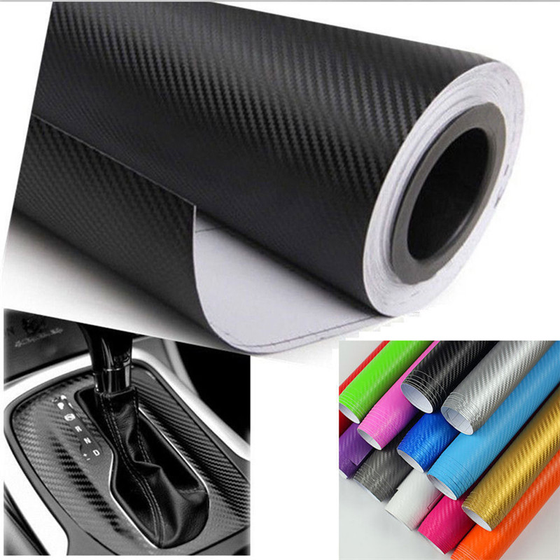 1pc 3D Carbon Fiber Matte Vinyl Film Car Sheet Wrap Roll Sticker DIY Decor Multi Sizes Water Proof Car Exterior