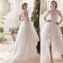 Verngo High-Low Wedding Dress Classic Appliques Lace Tulle Gowns Custom Size Bride Boho