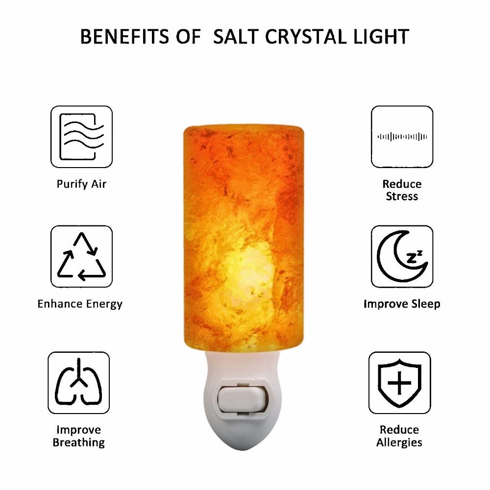 2PACK Crystal Himalayan Salt Lamp Mini Night Light with UL-Approved Wall Plug Cylindrical Home Decor Portable Lamp