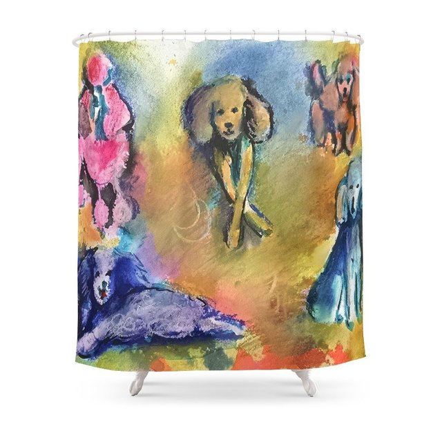 Poodles Shower Curtain Waterproof Bathroom Polyester Fabric