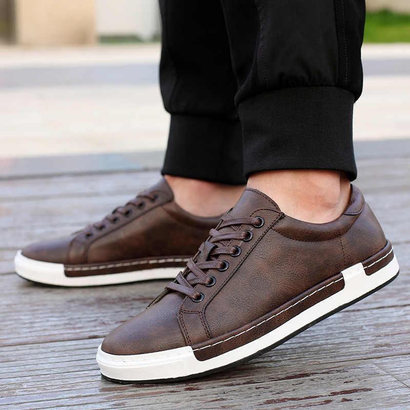 2019 Bahar Ayakkabı rahat ayakkabılar Erkek Deri Flats Dantel-up erkek ayakkabısı Basit Şık Eğitmenler Erkek Ayakkabıları Oxford Ayakkabı Erkekler Için