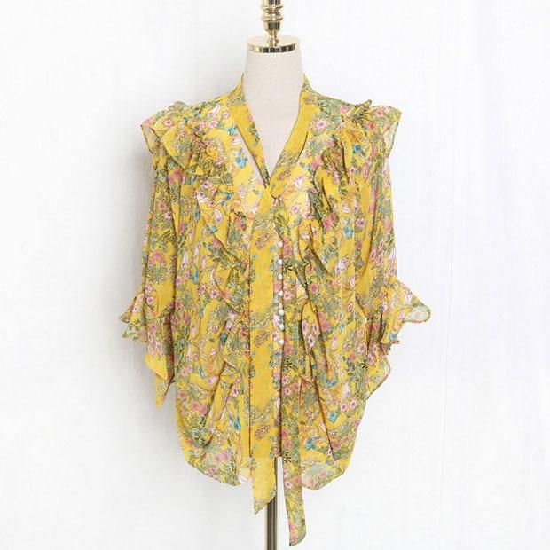 Nova J41581 One Size Mulheres Chiffon Camisa Moda Casual Doce Pequeno Floral Impresso Tshirt
