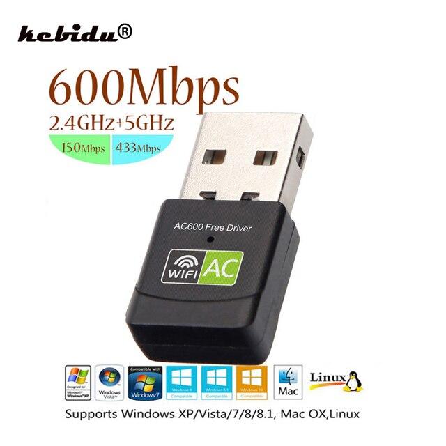 Kebidu ücretsiz sürücü 600 Mbps Yeni Sürüm Kablosuz USB Wifi adaptörü Alıcısı 2.4 + 5 Ghz USB Wifi 802.11n/g/ b Ağ Kartı PC Için