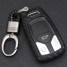 цена на KUKAKEY Car Key Case Cover For Audi A4L A6L TT MK1 TTS Q5 Q7 A2 A6 4F A3 8L 2017 Carbon Fiber Car Key Soft Shell Cover Keyring