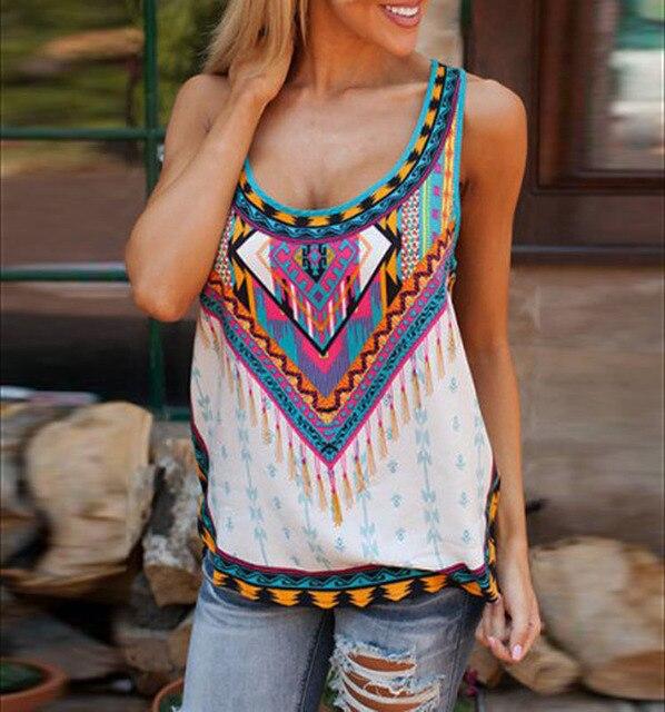 Summer Irregular Tank Top Printed Sleeveless T-Shirt Blouse 2016 New Arrival Women's Sexy T Shirt