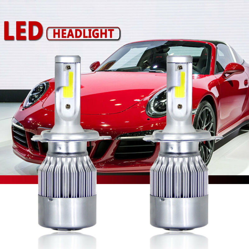 Universal 2pcs <font><b>Headlights</b></font> COB C9 <font><b>H4</b></font>/9003/H10 <font><b>LED</b></font> <font><b>200W</b></font> 40000LM 6000K Car <font><b>Headlight</b></font> Set Hi/Lo Beam Auto <font><b>Bulbs</b></font> image