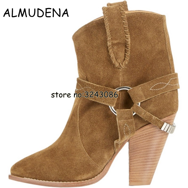 Black Brown Suede Chunky Heels Woman Ankle Booties Gladiator Winter Autumn Lady Short Boots High Heels Motorcycle Boots Shoes enmayla autumn winter chelsea ankle boots for women faux suede square toe high heels shoes woman chunky heels boots khaki black