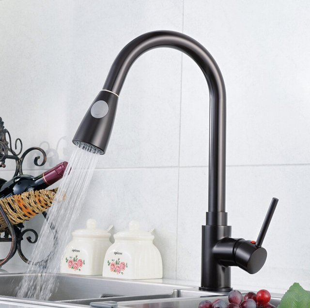 2015 Single Hole Pull Out Red Black Kitchen Faucet Pull Down Sink Faucet Black Kitchen Tap Torneira Cozinha Kitchen Mixer Tap In Kitchen Faucets From