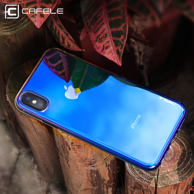 cheaper a3bbb 9b8a3 US $3.99 20% OFF|CAFELE Mirror Case for iphone X 10 Gradient Aurora Hard PC  Transparent Ultra Thin Glossy Case for iphone X Light Shock Proof-in ...