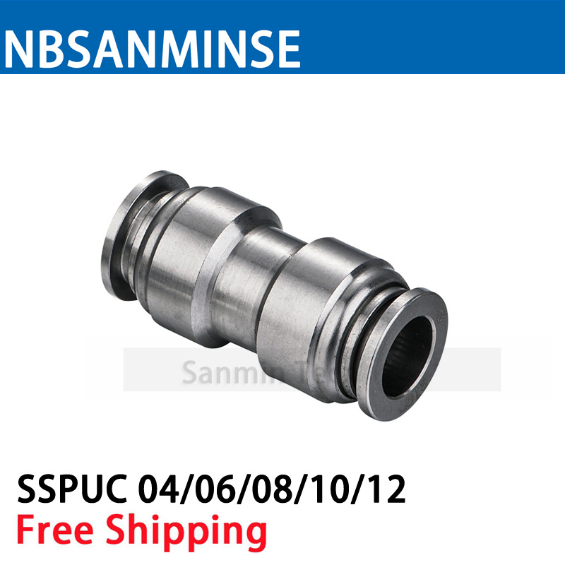 5Pcs/lot SSPUC Coupling SS316L Pneumatic Push In Food Grade Fitting Anticorrosion Stainless Steel Union Straight Fitting Sanmin 1kg l serine food grade 99% l serine