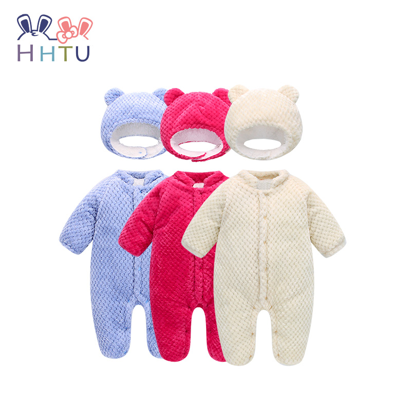 HHTU 2017 Baby Hooded Infant Umpsuit Winter Baby Costumes Romper Clothes Hat Sets Warm Clothes Newborn Thicker Cute puseky 2017 infant romper baby boys girls jumpsuit newborn bebe clothing hooded toddler baby clothes cute panda romper costumes