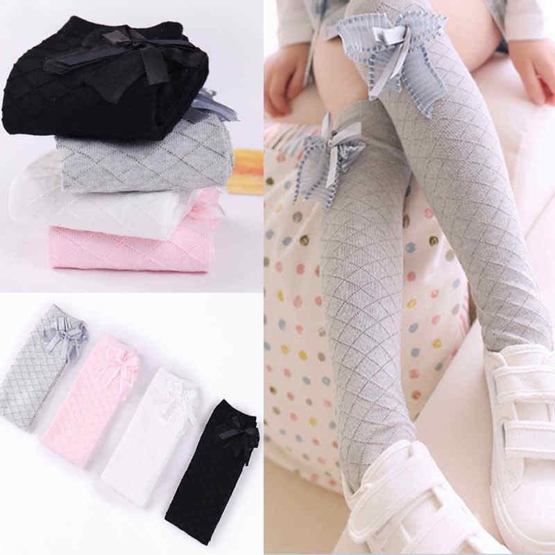 Nueva moda niñas sobre la rodilla calentadores niñas princesa malla anti-mosquito arco tubo niños rodilla pierna alta calentadores Calcetines