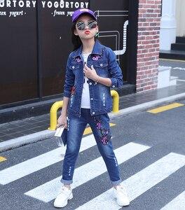 Image 3 - Zestaw ubrań dla dziewczynek Denim kurtki + spodnie jeansowe 2 szt. Zestaw dla dziewczynek haft w kwiaty ubrania dla dziewczynek 6 8 10 12 13 14 rok