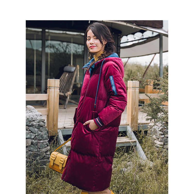 をインマン冬の新到着女性コントラスト色フード付き暖かいレトロロングセクション女性ダウンコート