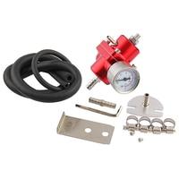 Adjustable FueL Pressure Regulator FPR 0 140 Psi Oil Gauge+Hose Kit Universal Jdm For Honda CRV FPT006
