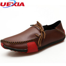 New Big Size 47 Soft Leather Shoes Men Casual Breathable High Quality Flats Driving Platform Footwear Non-slip Rubber Moccasins