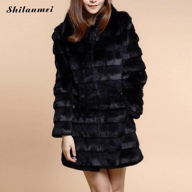 New 2016 Winter Women Plus Size Faux Fox Fur Coat Turn Down Collar Shaggy Warm Womens Fake Fur Jacket Long Luxury Fur Coat