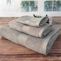 Set of 3 Solid Color Cotton Bath Towel Home use American Style Soft Cotton Absorbent Quick drying Bathroom Towel Set