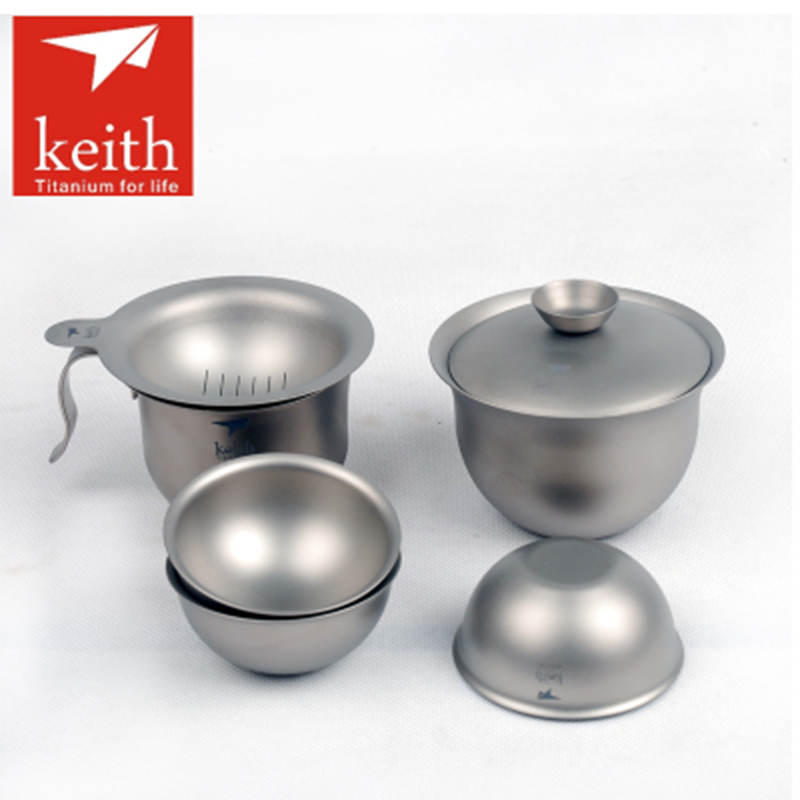 6pcs/Set Keith Titanium Tea Cup Set Outdoor Camping Hiking Teaware Drinking Tureen/Tea strainers/Cup/3 Tea Cup Utralight Ti3910 keith camping cup titanium cup outdoor cup ti3267