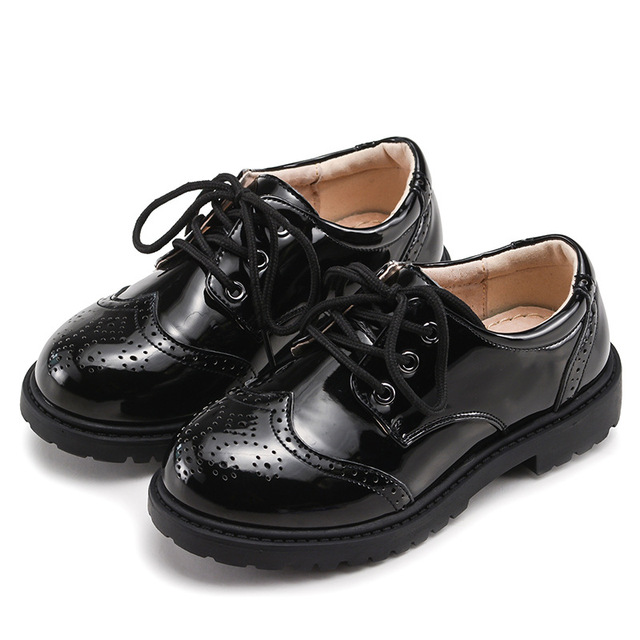 Spring School Children Genuine Leather Dance Black Performance Elegant S Boys Wedding Shoes For Kids Flats