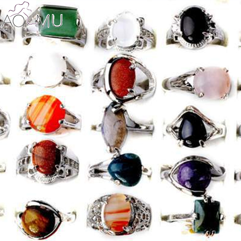 AOMU Wholesale 5Pcs Mixed colorful Stone Silver Plated Vintage Tibetan Natural Stone Rings for women and man