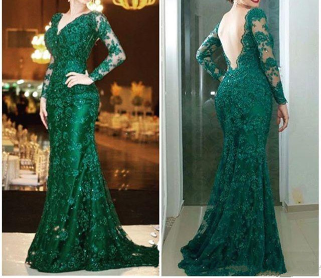 Mother Of The Bride Dresses For Weddings 2019 Guest Gowns Long Sleeve Green Lace V Neck Sexy Backless Women Formal Evening Dress