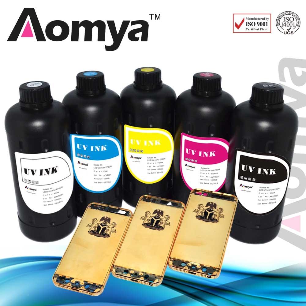 Aomya specialized production 10 colors UV LED Ink print on everything, 10x1000ml,simon-pure uv ink