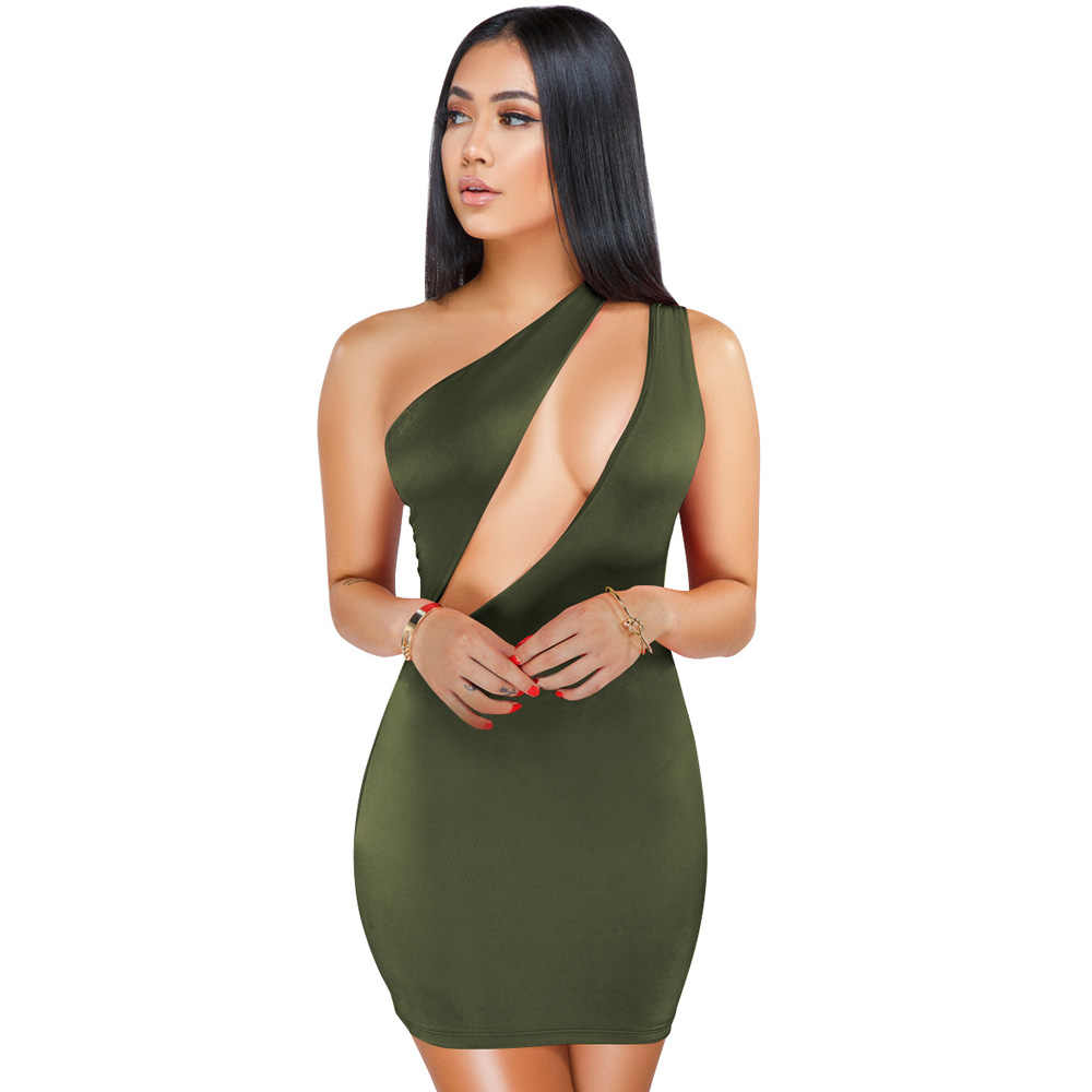 0ff043a12a5 Womens Party Bandage Dresses 2019 New Arrivals Summer One Shoulder Green Mini  Dress Bodycon Sexy Cut