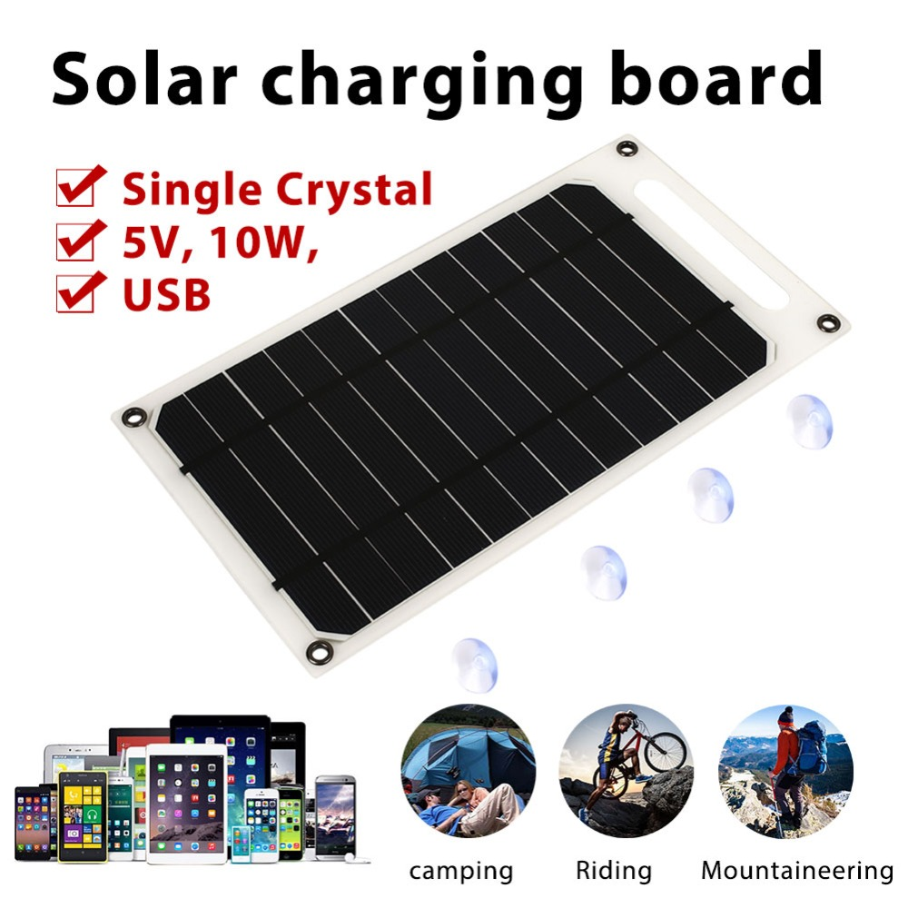 Portable Ultra Thin Solar Charger Panel Solar Panel Monocrystalline Silicon USB Phone Charger 5V 10W Solar Generator Durable