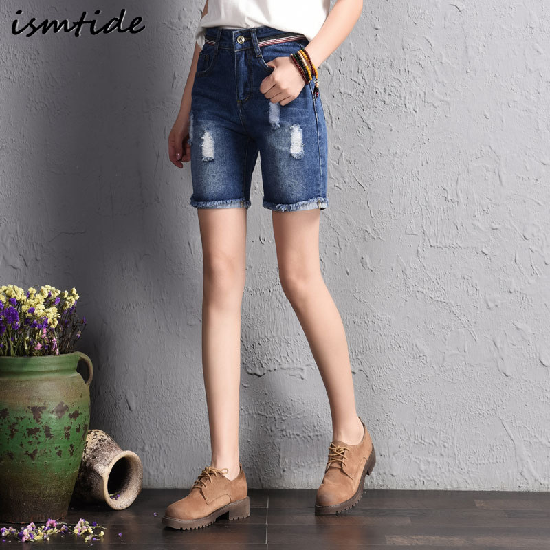 Hot Sale 2017 Women Jeans Shorts Tassel Patchwork Holes Ripped Pockets Washed Knee Length Casual Denim High Waist Shorts plus